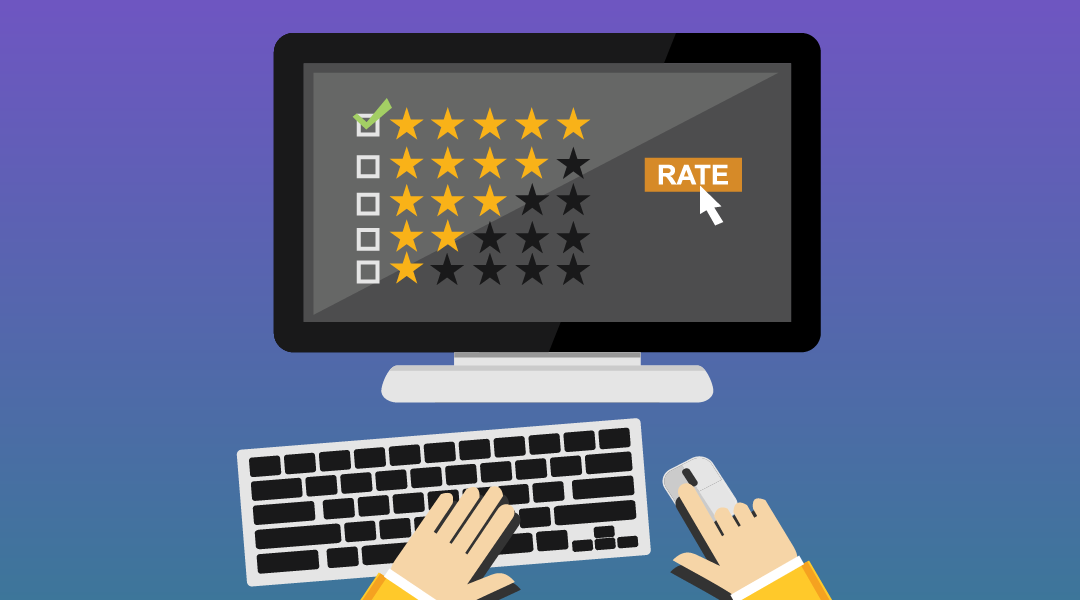 animated computer screen image with 5 star rating